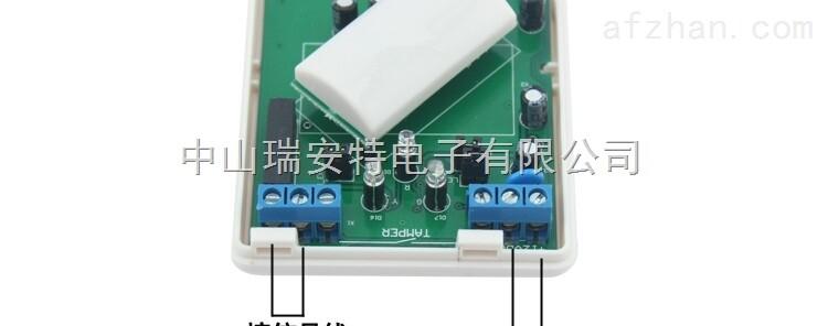 技术参数: 电源:DC9~12V 工作电流:静态25μA 报警15mA(DC12V工作电压) 上电:上电1分钟后进入工作状态 振荡源:微带电路、振荡单元 工作频率:3.2GHz 覆盖范围:12×12m 灵敏度:30%-100%可调 感应器:特制低噪双元结构 透镜视窗:36个 探测角度:110° 覆盖范围:12×12m(下视窗消除探测死角) 温度补偿:两级自动温度补偿 报警端口:平常为连通,报警时断开5秒,接点容量100mA/30VDC,接点中已串联1欧电阻 防拆开关